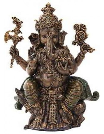 Seated Ganesha Hindu God Bronze 8 Inch Statue Mythic Decor  Dragon Statues, Angels & Demons, Myths & Legends |Statues & Home Decor