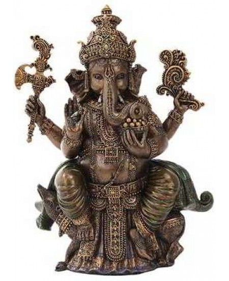 Seated Ganesha Hindu God Bronze 8 Inch Statue at Mythic Decor,  Dragon Statues, Angels, Myths & Legend Statues & Home Decor