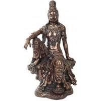 Water and Moon Kuan Yin 16 Inch Bronze Resin Statue