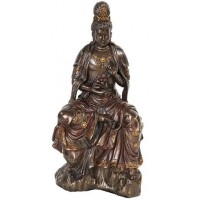 Water and Moon Kuan Yin Bronze Resin Statue