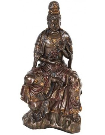 Water and Moon Kuan Yin Bronze Resin Statue Mythic Decor  Dragon Statues, Angels, Myths & Legend Statues & Home Decor