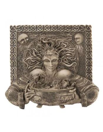 Cerridwen Cauldron Celtic Goddess 9 Inch Stone Finish Plaque