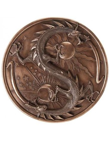 Double Dragon Alchemy Bronze Resin Plaque Mythic Decor  Dragon Statues, Angels & Demons, Myths & Legends |Statues & Home Decor
