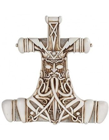 Mjolnir Thor Hammer Bone Resin Plaque Mythic Decor  Dragon Statues, Angels, Myths & Legend Statues & Home Decor