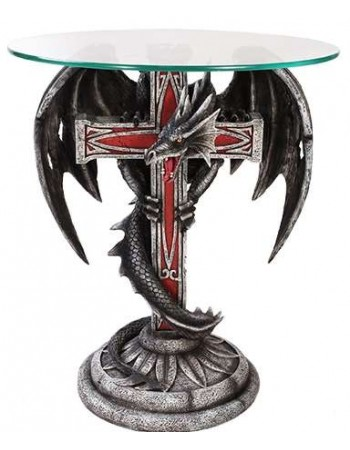 Dragon Cross Glass Top Accent Table Mythic Decor  Dragon Statues, Angels, Myths & Legend Statues & Home Decor
