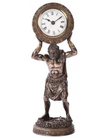 Atlas Holding the World Table Clock Mythic Decor  Dragon Statues, Angels, Myths & Legend Statues & Home Decor