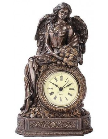 Lady Fortuna Mantle Clock Mythic Decor  Dragon Statues, Angels, Myths & Legend Statues & Home Decor