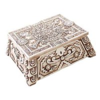Aztec White Resin Trinket Box