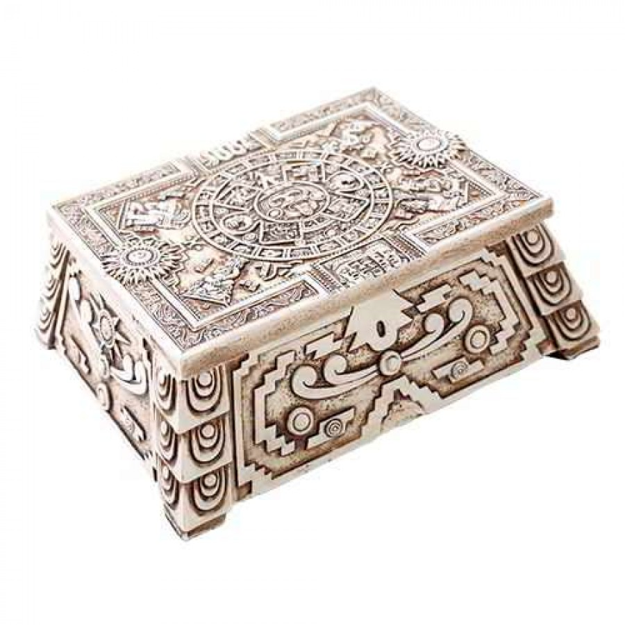 aztec white resin trinket box 5 3 4 inches bone finish antique style box. Black Bedroom Furniture Sets. Home Design Ideas