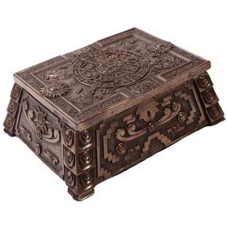 aztec bronze resin trinket box 5 3 4 inches bronze finish antique style box. Black Bedroom Furniture Sets. Home Design Ideas