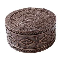Aztec Bronze Resin Round Trinket Box