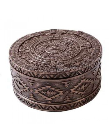 Aztec Bronze Resin Round Trinket Box Mythic Decor  Dragon Statues, Angels, Myths & Legend Statues & Home Decor
