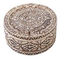 Aztec Bone Resin Round Trinket Box