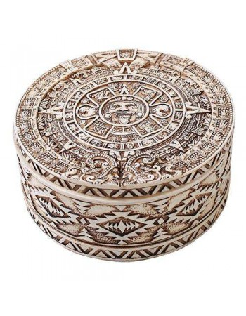 Aztec Bone Resin Round Trinket Box Mythic Decor  Dragon Statues, Angels, Myths & Legend Statues & Home Decor