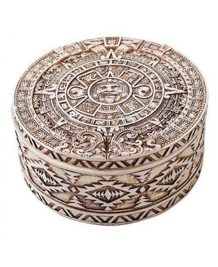 Aztec Bone Resin Round Trinket Box