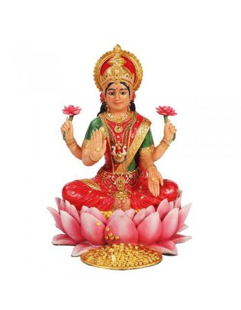Lakshmi Hindu Goddess Seated on Lotus Statue Mythic Decor  Dragon Statues, Angels & Demons, Myths & Legends |Statues & Home Decor