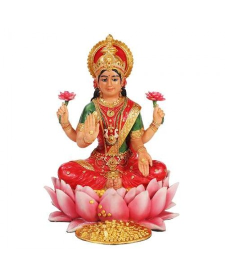 Lakshmi Hindu Goddess Seated on Lotus Statue