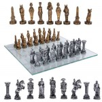 Egypt Vs Rome Chess Set with Glass Board at Mythic Decor,  Dragon Statues, Angels & Demons, Myths & Legends |Statues & Home Decor
