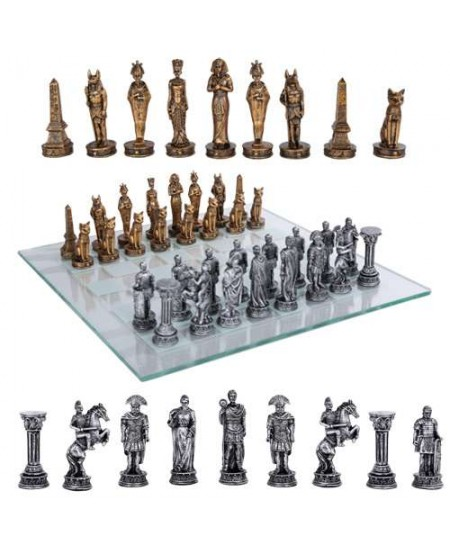 Egypt Vs Rome Chess Set with Glass Board at Mythic Decor,  Dragon Statues, Angels, Myths & Legend Statues & Home Decor