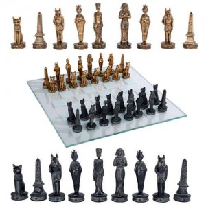 Egyptian Chess Set with Glass Board Mythic Decor  Dragon Statues, Angels & Demons, Myths & Legends |Statues & Home Decor