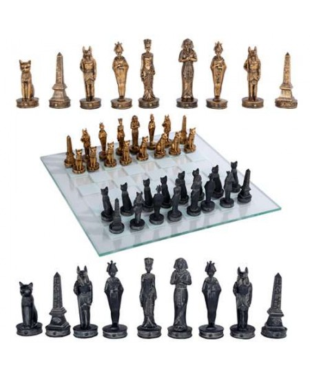 Egyptian Chess Set with Glass Board at Mythic Decor,  Dragon Statues, Angels, Myths & Legend Statues & Home Decor