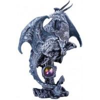 Gray Dragon Fantasy Art Statue