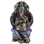 Ganesha, Hindu God, On Throne with his Mouse at Mythic Decor,  Dragon Statues, Angels, Myths & Legend Statues & Home Decor