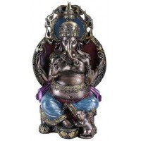 Ganesha, Hindu God, On Throne with his Mouse