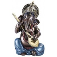 Ganesha with Lute Small Bronze Resin Statue