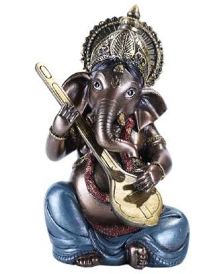 Ganesha with Lute Small Bronze Resin Statue at Mythic Decor,  Dragon Statues, Angels, Myths & Legend Statues & Home Decor