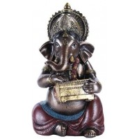 Ganesha with Treasure Chest Small Bronze Resin Statue