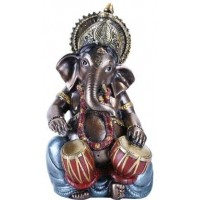 Ganesha with Drums Small Bronze Resin Statue