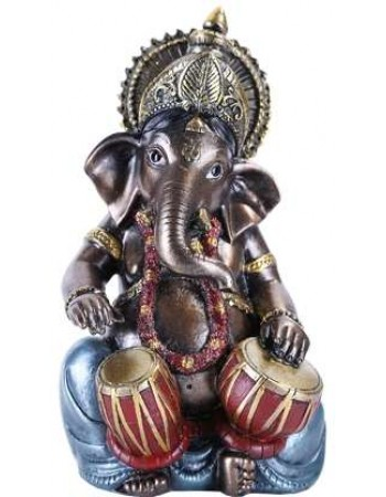 Ganesha with Drums Small Bronze Resin Statue Mythic Decor  Dragon Statues, Angels & Demons, Myths & Legends |Statues & Home Decor