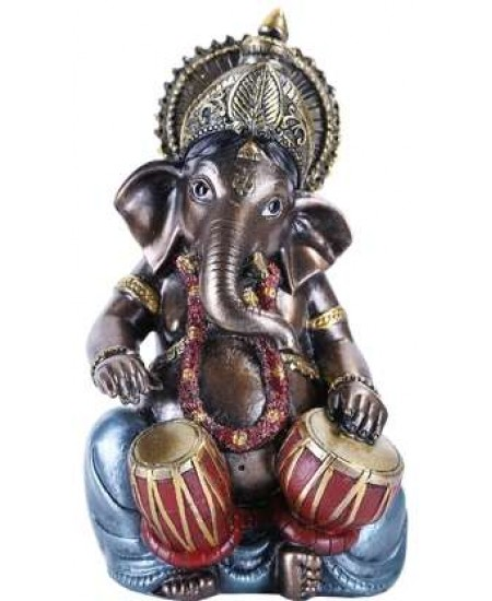 Ganesha with Drums Small Bronze Resin Statue at Mythic Decor,  Dragon Statues, Angels, Myths & Legend Statues & Home Decor