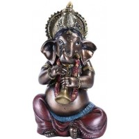 Ganesha with Horn Small Bronze Resin Statue