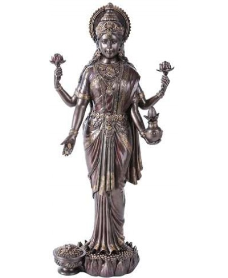 Lakshmi Hindu Goddess of Luck and Wealth Bronze Resin Statue at Mythic Decor,  Dragon Statues, Angels, Myths & Legend Statues & Home Decor