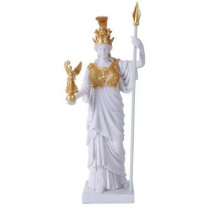 Athena, Greek Goddess of War White and Gold Statue Mythic Decor  Dragon Statues, Angels & Demons, Myths & Legends |Statues & Home Decor