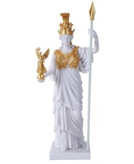 Athena, Greek Goddess of War White and Gold Statue at Mythic Decor,  Dragon Statues, Angels, Myths & Legend Statues & Home Decor