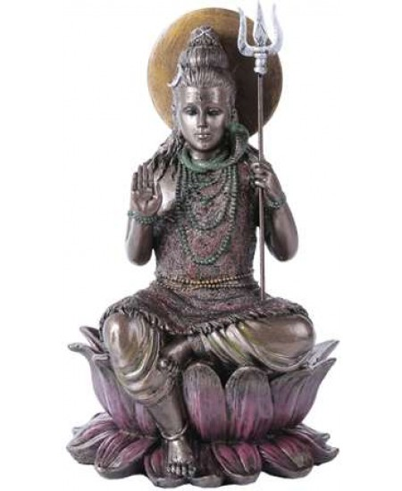 Lord Shiva Seated Bronze Resin Hindu God Statue