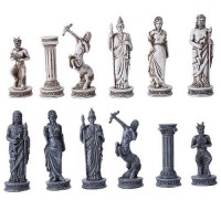 Greek Mythology Gods Chess Set with Glass Board