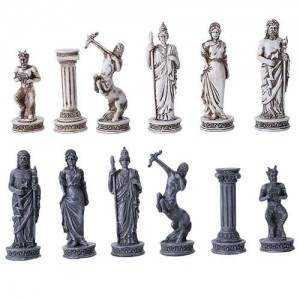 Greek Mythology Gods Chess Set with Glass Board Mythic Decor  Dragon Statues, Angels & Demons, Myths & Legends |Statues & Home Decor