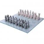 Crusader vs Muslim Chess Set with Glass Board at Mythic Decor,  Dragon Statues, Angels, Myths & Legend Statues & Home Decor