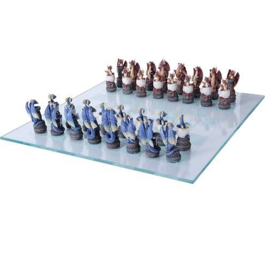 Dragons Chess Set With Glass Board 3 Inch High Chess Pieces