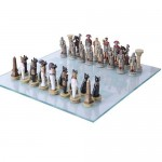 Romans vs Egyptians Chess Set with Glass Board at Mythic Decor,  Dragon Statues, Angels, Myths & Legend Statues & Home Decor