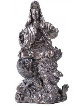Kuan Yin on Dragon Bronze Resin 11 Inch Statue Mythic Decor  Dragon Statues, Angels, Myths & Legend Statues & Home Decor