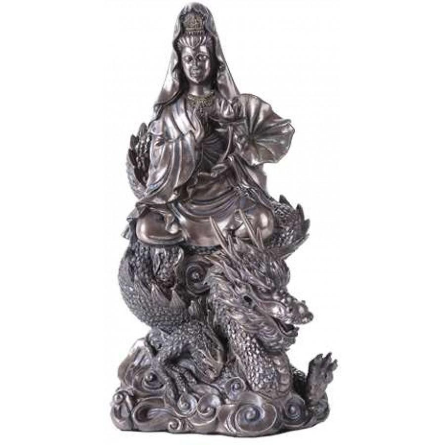kwan yin on dragon bronze resin 11 inch statue eastern asian gods