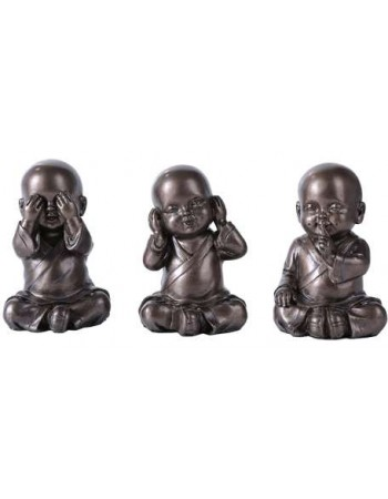 No Evil Monks Set of 3 Statue Mythic Decor  Dragon Statues, Angels, Myths & Legend Statues & Home Decor