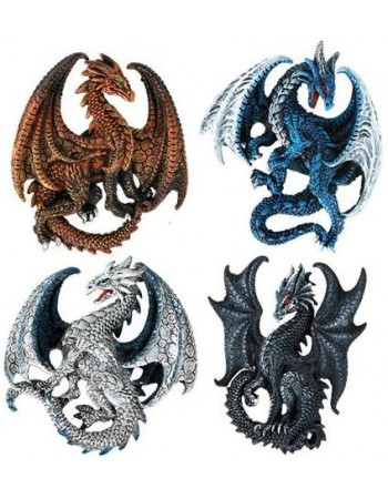 Set of 4 Dragon Magnets Mythic Decor  Dragon Statues, Angels, Myths & Legend Statues & Home Decor
