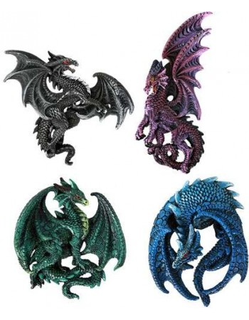 Dragon Magnets Set of 4 Mythic Decor  Dragon Statues, Angels, Myths & Legend Statues & Home Decor