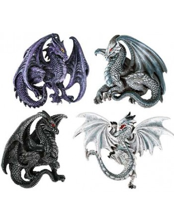 Winged Dragon Magnets Set of 4 Mythic Decor  Dragon Statues, Angels, Myths & Legend Statues & Home Decor